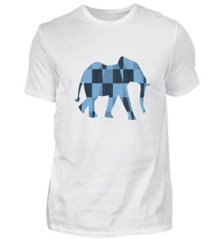 Elefant in blauem Schachbrettmuster