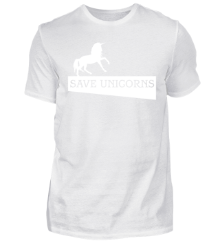 SAVE UNICORNS - white Einhorn