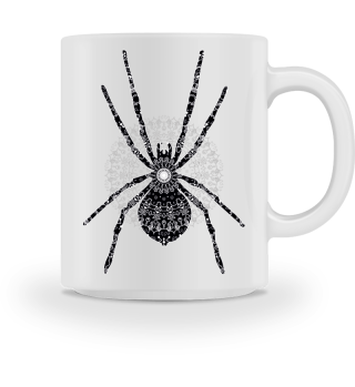 Big SPIDER Mandala black white gray 4