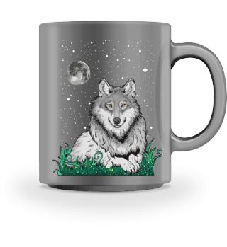 Wolf Mond Tier Tasse