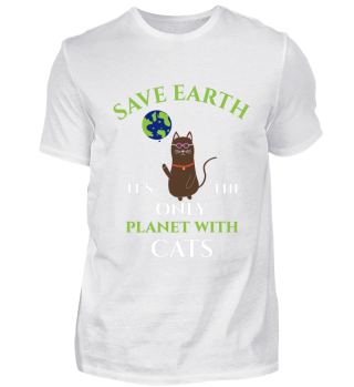 SAVE EARTH DAY CAT GIFT PLANET HIPPIE