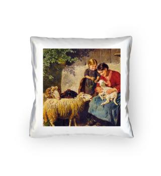 Bäuerin mit Kind und Schafen - A.Eberle