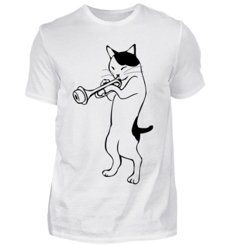 cat is playing the trumpet! music, cat