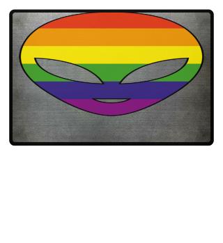 Alien Head Silhouette - Rainbow Flag II