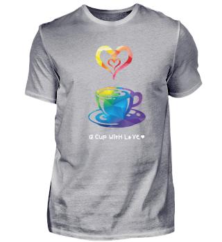 T-Shirt Kaffee Tasse Liebe Herz