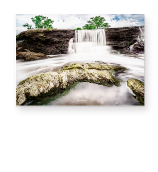 Waterfall River Trees Stone Clouds