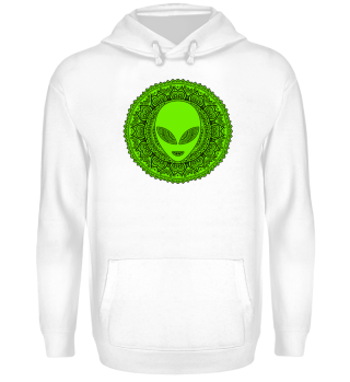 Ethnic Folklore Mandala - Green Alien II
