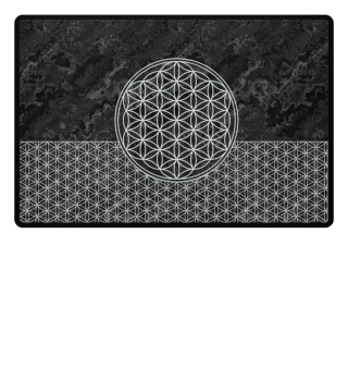Flower Of Life white - grunge black