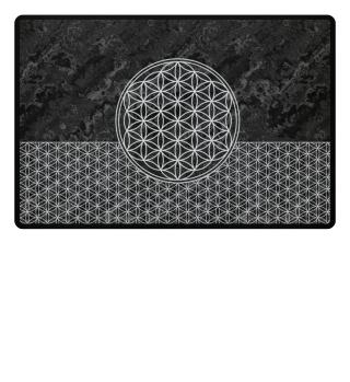 Flower Of Life white - grunge black