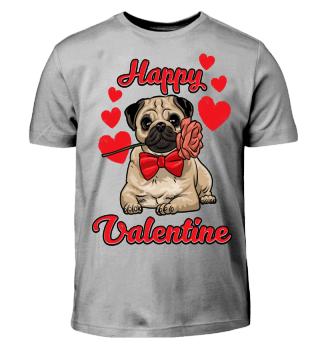 Happy Valentine Mops mit Rose im Mund