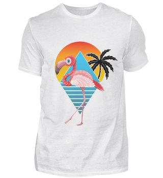 Flamingo Shirt Sonnenuntergang Palme