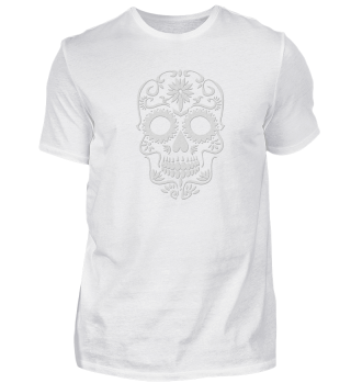 White skull outfit with artistic forms