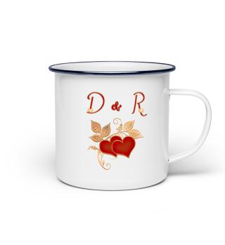 Tasse für Paare Initialen D und R