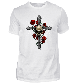 Cross Skull with Roses