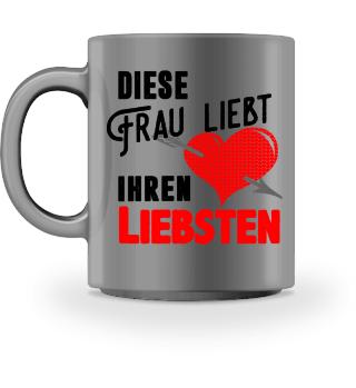 Frau liebt Liebsten - Emaille Tasse