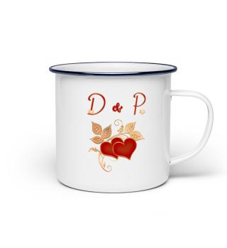Tasse für Paare Initialen D und P