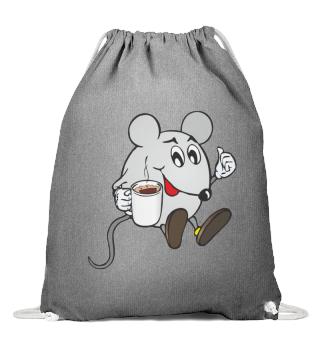 Cotton gymnastics bag-Mouse with coffe