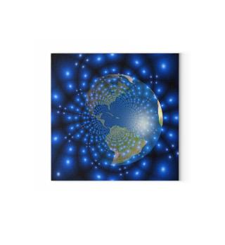 Welt - Globus - World Globe - neon stars