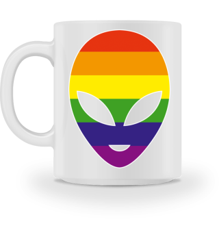 Alien Head Silhouette - Rainbow Flag I