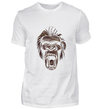 Line Art Monkey Face angry Ape Design