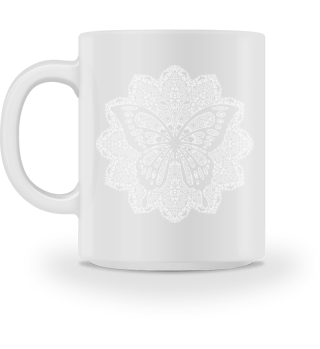 ♥ Vintage Mandala I Butterfly I weiss 2