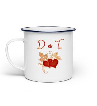 Tasse für Paare Initialen D und T