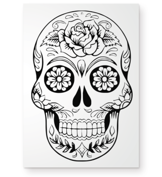 Gothic Rose Sugar Skull - black POSTER
