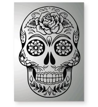 Gothic Rose Sugar Skull - black POSTER