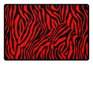 ♥ Zebra Stripes Art Black Red