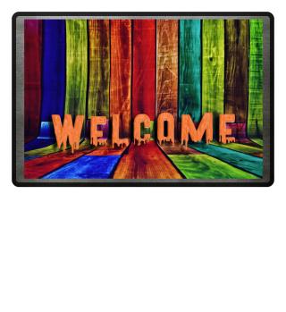 Farbige Holzlatten - WELCOME