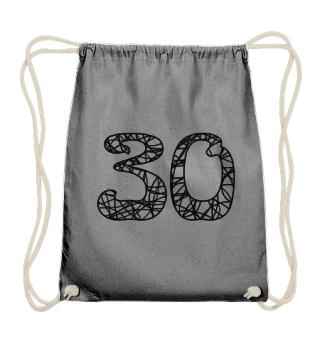 Geburtstag 30 ausmalen - schwarz