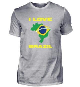 I Love Brazil Brazilian Flag Inside Coun