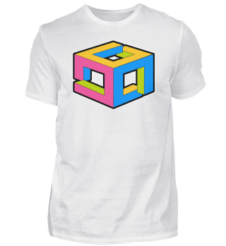 Optical Illusion Colorful Cube