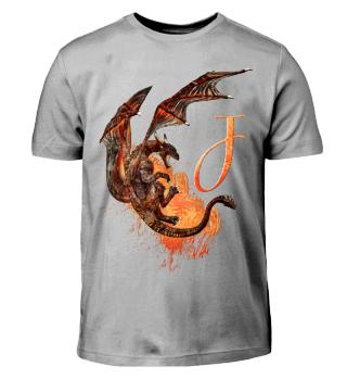 Drachen Buchstabe J (Kinder T-Shirt)