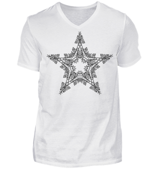♥ Vintage Floral Star outline - black