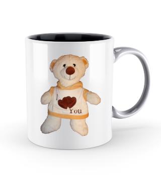 Tasse Teddy zweifarbig, einseit. Druck