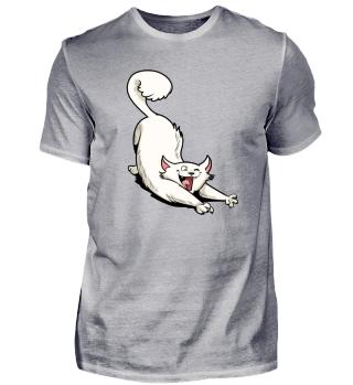 Stretching Kitty - Men Women T Shirt