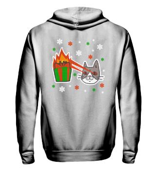 Ugly Christmas Laser Katze Geschenk Fire