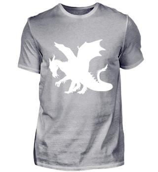 Drachen Lindwurm - Weiße Kontur