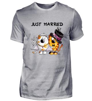 Just Married Katzen Brautpaar Hochzeit