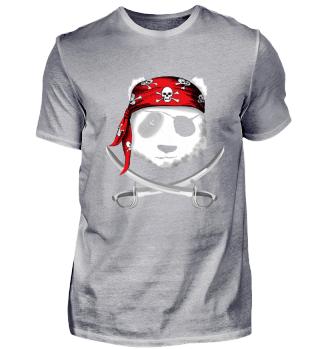 Pandabär mit Augenklappe Piratenhut