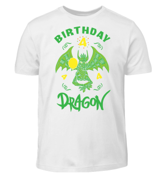 Birthday Boy 4 Dragon T-Shirt Funny Gift