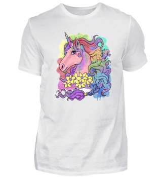 Unicorn Watercolor - Whimsical Rainbow