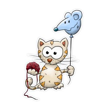 Kawaii Kätzchen Katze mit Ballon & Wolle
