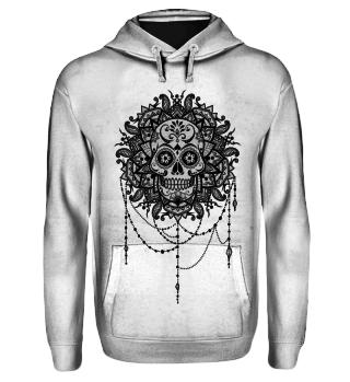Dotwork Tattoo Skull Mandala 5 - black