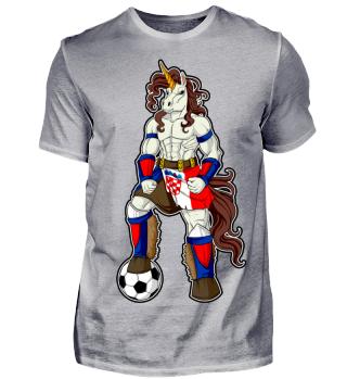 I Croatia Einhorn Fussball Kroatien T-Shirt WM Shirt Nationalmannschaft Fanshirt Länder