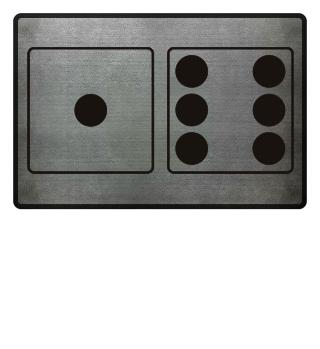 Würfel Punkte 1 + 6 - schwarz