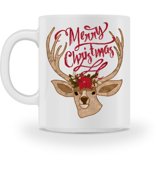Merry Christmas - Deer Flowers Head