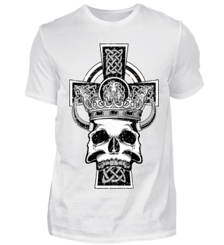 Celtic Cross King Skull Crown Horns