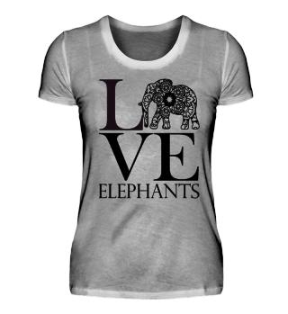 Love Elephants - black